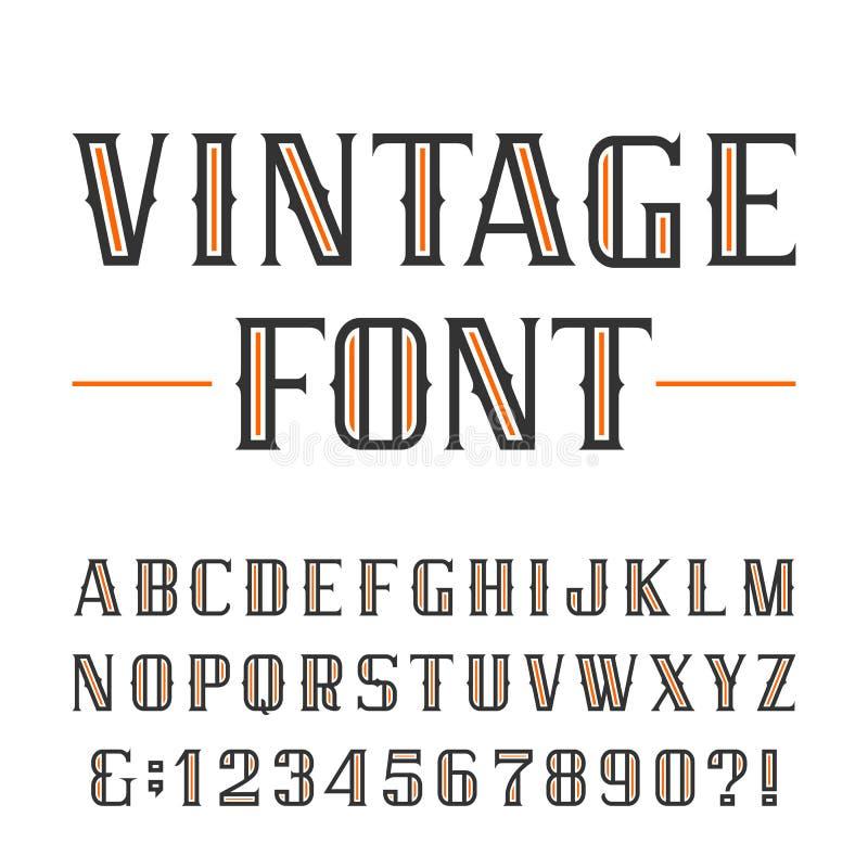 Uitstekende alfabet vectordoopvont royalty-vrije illustratie