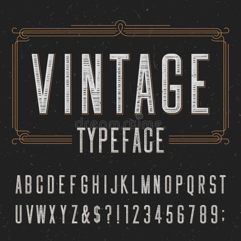 Uitstekende alfabet vectordoopvont met verontruste bekledingstextuur stock illustratie