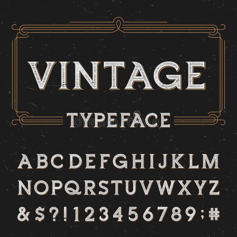 Uitstekende alfabet vectordoopvont met verontruste bekledingstextuur vector illustratie