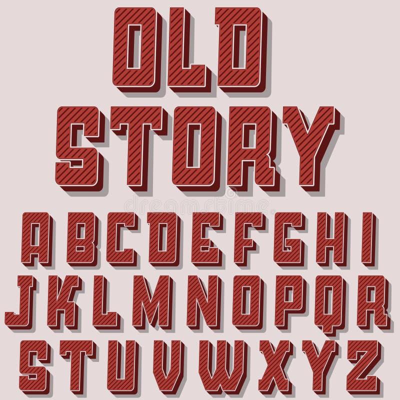 Uitstekende alfabet vectordoopvont Oude stijllettersoort royalty-vrije illustratie