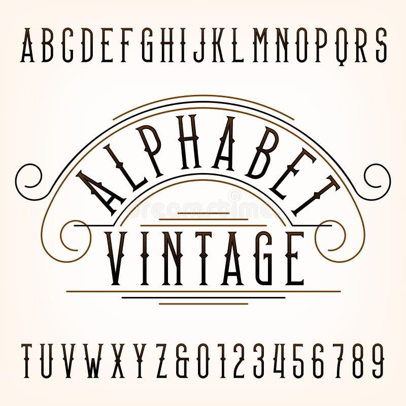 Uitstekende alfabetdoopvont Dunne typeletters en getallen royalty-vrije illustratie