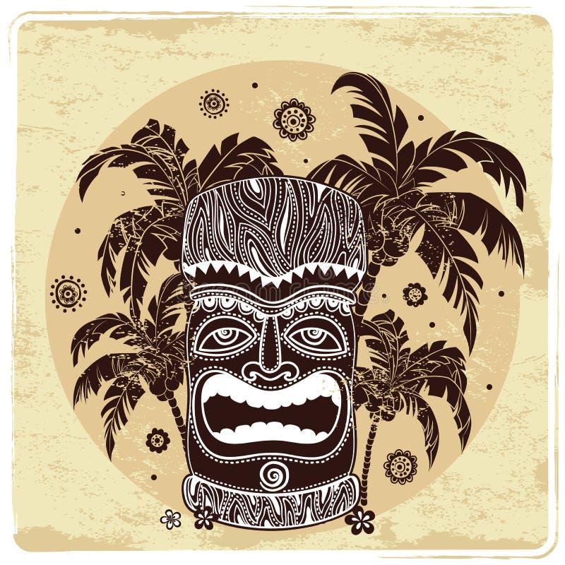 Uitstekende Aloha Tiki-illustratie vector illustratie