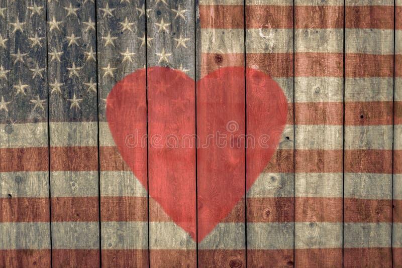 Uitstekende Amerikaanse vlag en rood hart vector illustratie