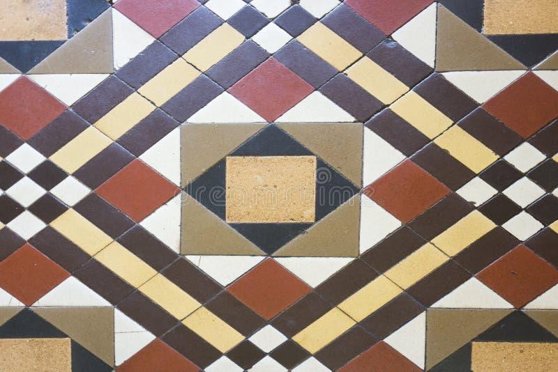 Uitstekende antieke Victoriaanse tegels in geometrisch patroon royalty-vrije stock fotografie