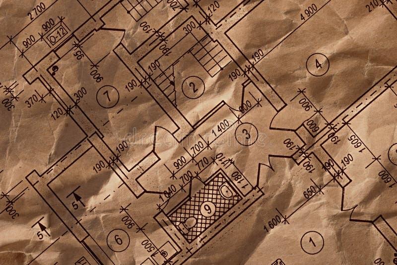 Uitstekende architecturale tekening stock fotografie