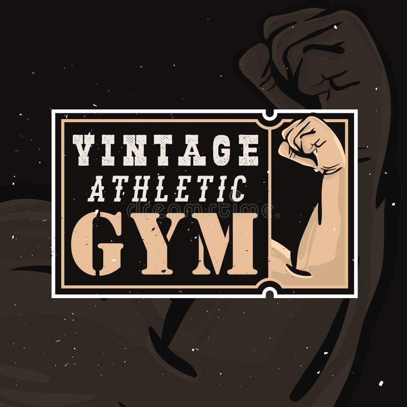 Uitstekende atletengymnastiek logotype in retro stijl met grungeeffect royalty-vrije illustratie