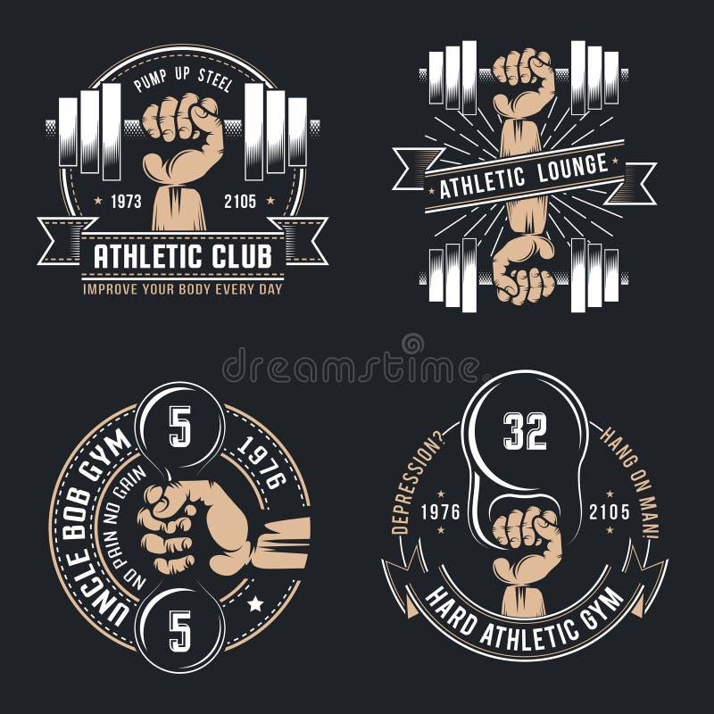 Uitstekende atletische emblemen vector illustratie