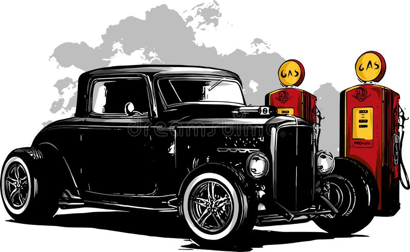 Uitstekende auto, hete staafgarage, hotrods auto, oude schoolauto, royalty-vrije illustratie