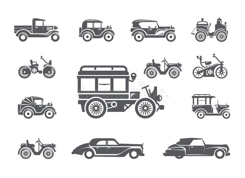 Uitstekende auto's. Geplaatste pictogrammen stock illustratie