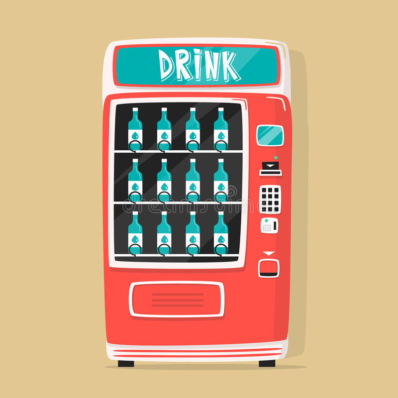 Uitstekende automaat met dranken Retro stijl Aankoop van water stock illustratie
