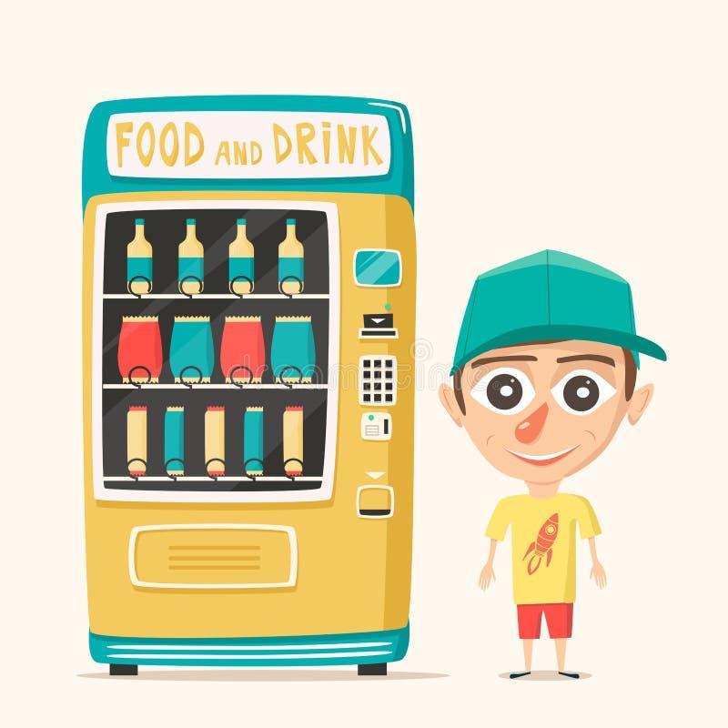 Uitstekende automaat met dranken Retro stijl Aankoop van water vector illustratie