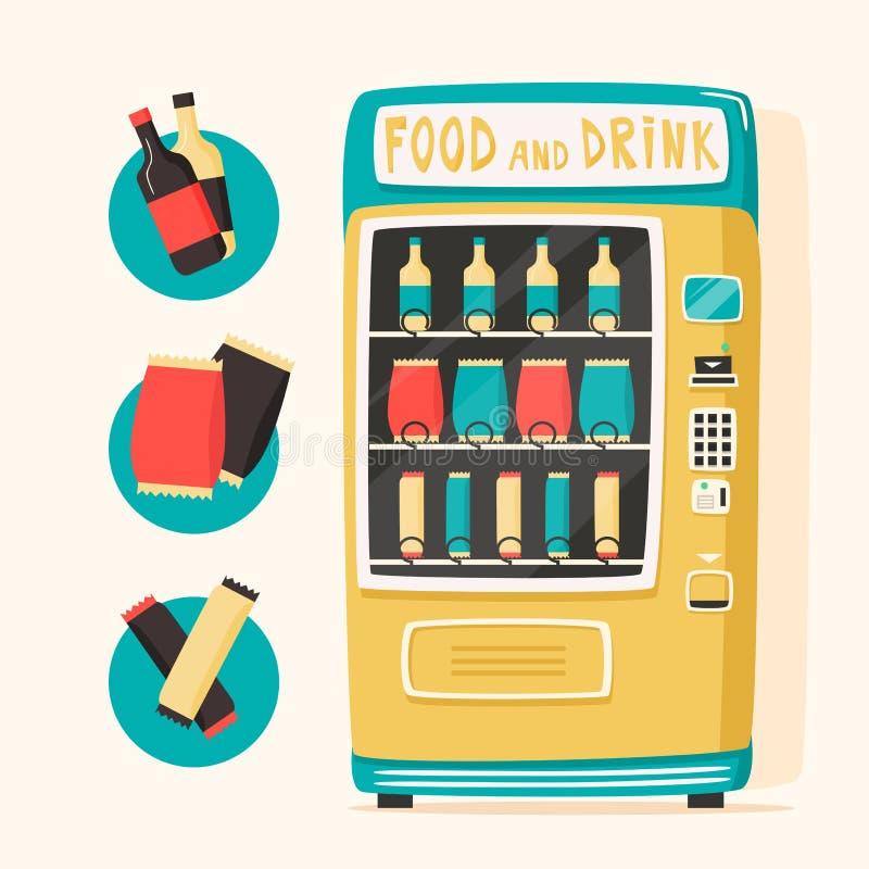 Uitstekende automaat met voedsel en dranken Retro stijl vector illustratie