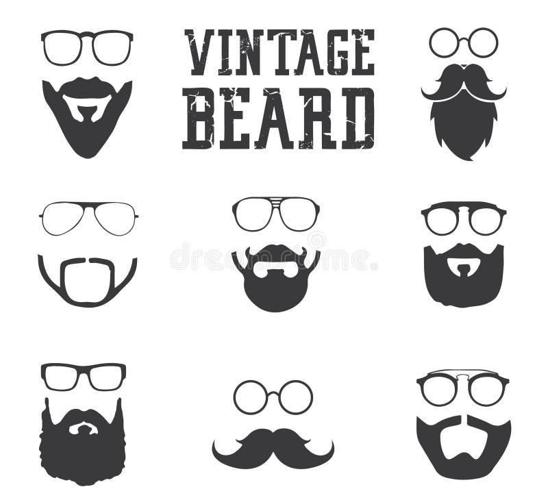 Uitstekende baardpictogrammen royalty-vrije stock afbeeldingen