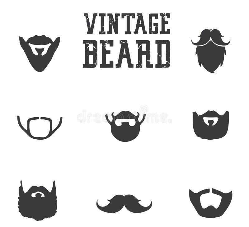 Uitstekende baardpictogrammen stock afbeelding