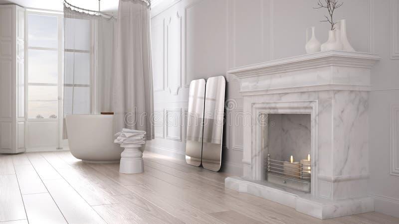 Uitstekende badkamers in klassieke ruimte met oude open haard en parketvloer, modern binnenlands ontwerp stock afbeeldingen