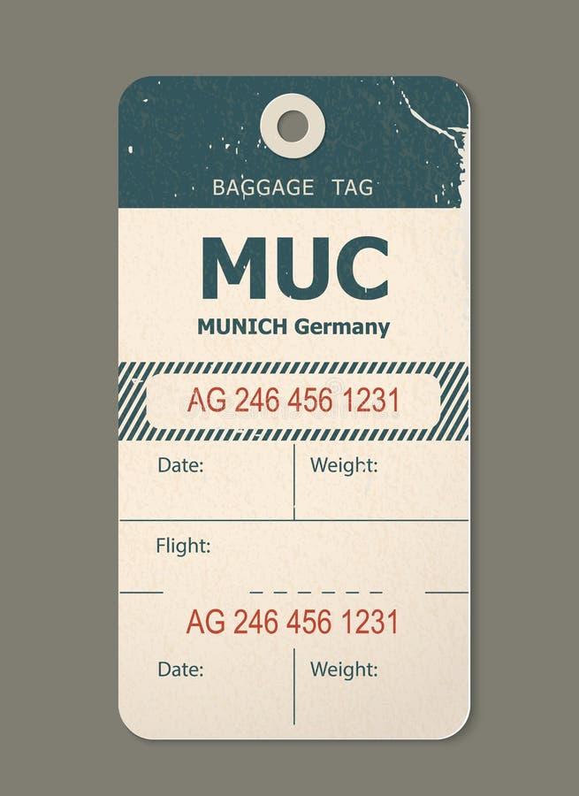 Uitstekende bagagemarkering, uitstekende retro reis München het etiket van Duitsland, land vector illustratie