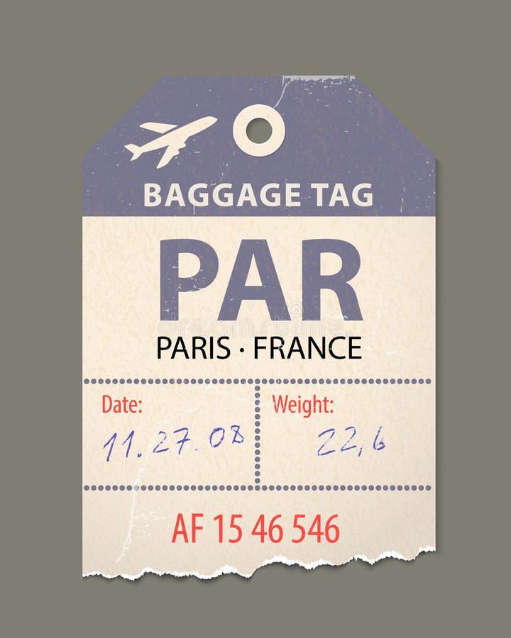 Uitstekende bagagemarkering, uitstekende retro reis Parijs het etiket van Frankrijk, land royalty-vrije illustratie