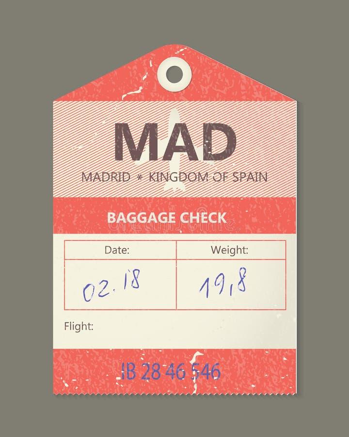 Uitstekende bagagemarkering, uitstekende retro reis Spanje het etiket van Madrid, land royalty-vrije illustratie