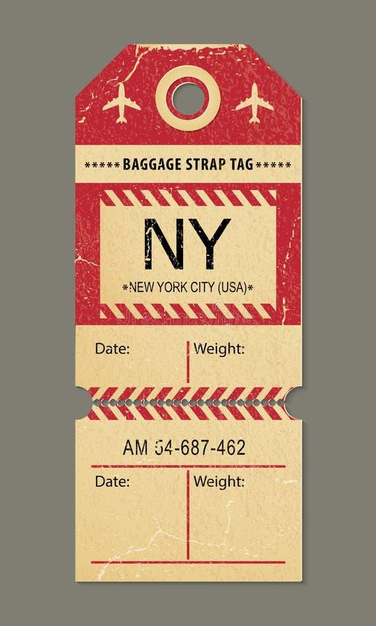 Uitstekende bagagemarkering, retro stad van reisnew york, het etiket van het land vector illustratie