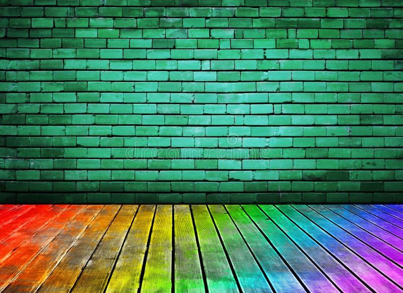 Uitstekende bakstenen muur en kleurrijke houten vloertextuur stock illustratie