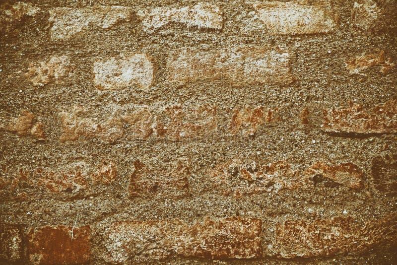 Uitstekende bakstenen muurtextuur, cementachtergrond voor website of mobiele apparaten stock afbeeldingen