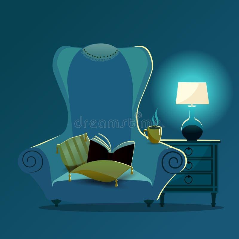 Uitstekende bankleunstoel met gele hoofdkussens met leeswijzers en kantservet op rug van stoel bij nacht in het licht van bureau stock illustratie