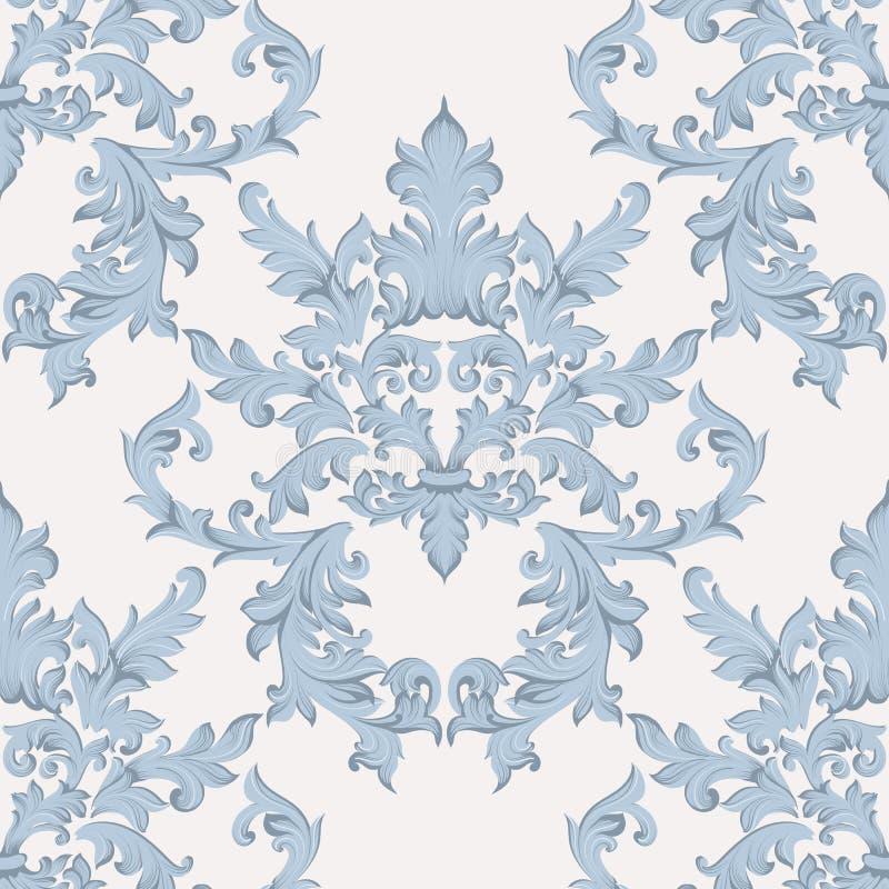 Uitstekende Barokke acanthus Keizerstijl van het damast bloemenpatroon Vectordecorachtergrond Luxe klassiek ornament koninklijk vector illustratie