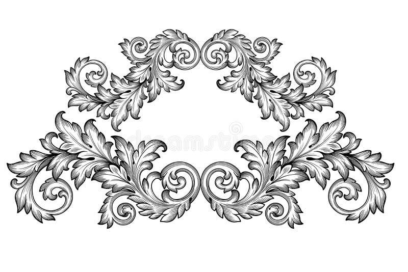 Uitstekende barokke het ornamentvector van de kaderrol royalty-vrije illustratie