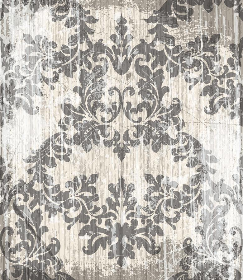Uitstekende Barokke Victoriaanse patroonvector Bloemenornamentdecoratie De bladrol graveerde retro ontwerp van de grungetextuur p stock illustratie