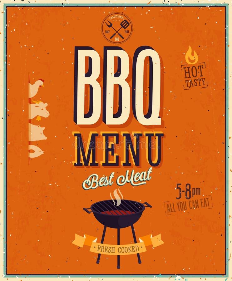 Uitstekende BBQ affiche. vector illustratie