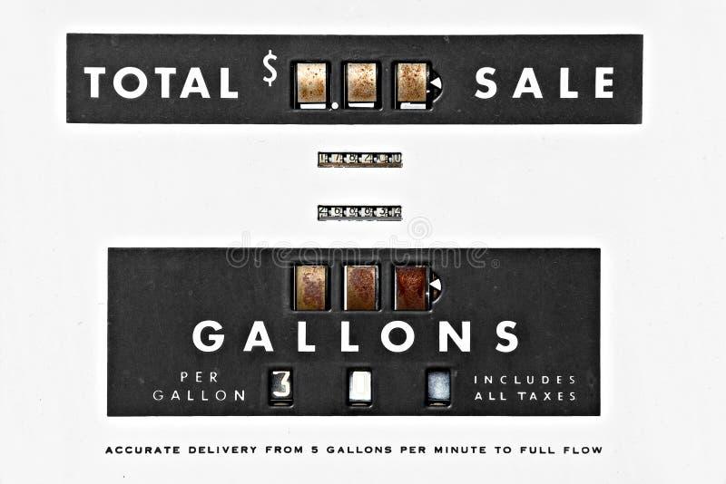 Uitstekende benzinepompdetails royalty-vrije stock afbeeldingen