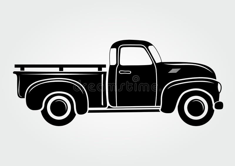 Uitstekende bestelwagen, vrachtwagen Retro vervoervoertuig stock illustratie