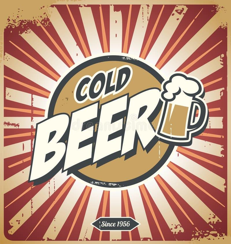 Uitstekende bieraffiche royalty-vrije illustratie