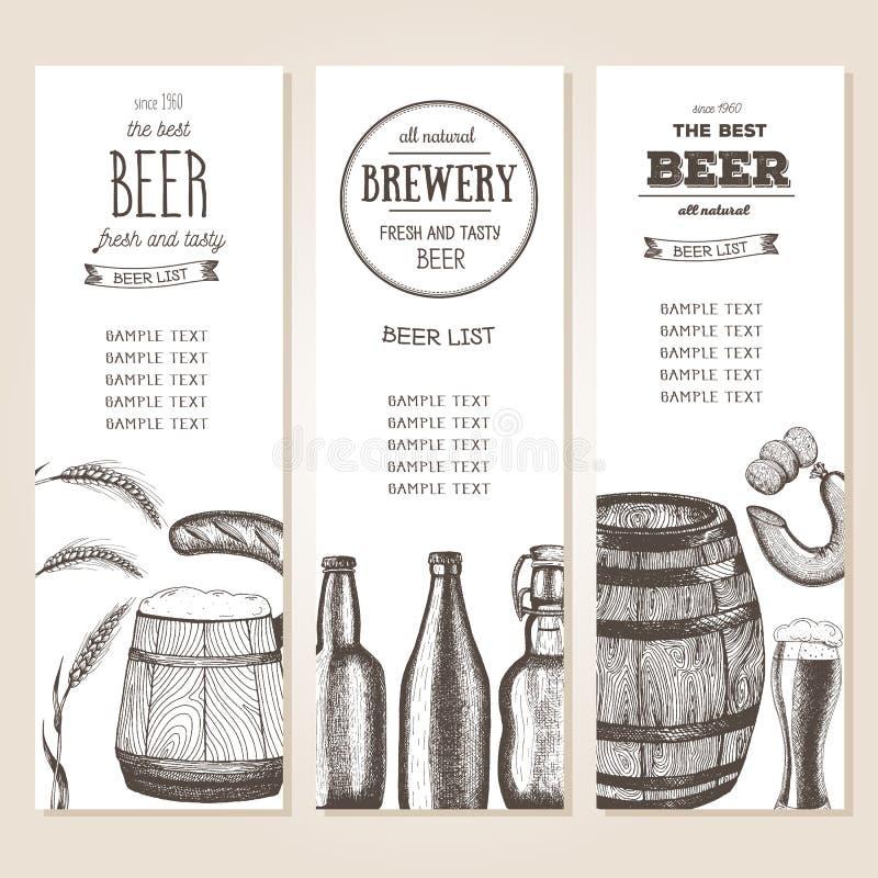 Uitstekende bierlijst voor bar of brouwerij Barmenu banners geplaatst die in inkt worden getrokken royalty-vrije illustratie