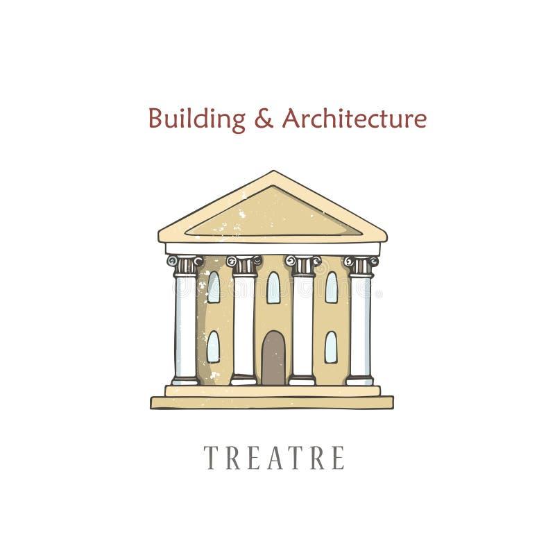 Uitstekende bioskoop de bouwvoorgevel De buiten vectorillustratie van het Victoriaanse stijltheater Webbanner met stadscultuur en vector illustratie