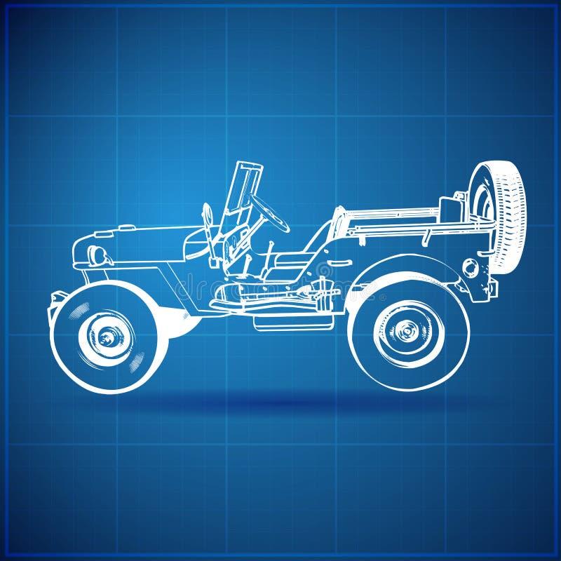 Uitstekende Blauwdruk van Amerikaanse Jeep stock illustratie