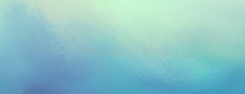 Uitstekende blauwe achtergrond met verontrust lichtgeel textuur en pastelkleurgrensontwerp stock illustratie