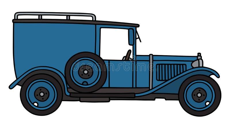 Uitstekende blauwe bestelwagen stock illustratie