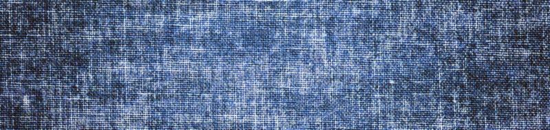 Uitstekende blauwe grungeachtergrond met canvas of jutetextuur stock foto's
