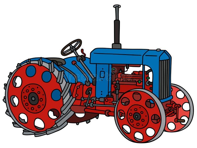 Uitstekende blauwe tractor stock illustratie
