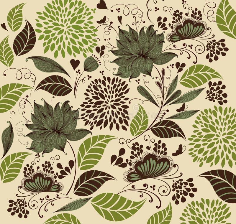 Uitstekende bloemachtergrond. stock illustratie