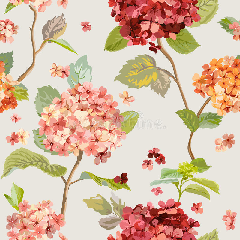 Uitstekende Bloemen - Bloemenhortensia background - Naadloos Patroon stock illustratie
