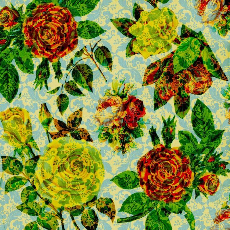 Uitstekende bloemen de collageAchtergrond van het plakboek vector illustratie