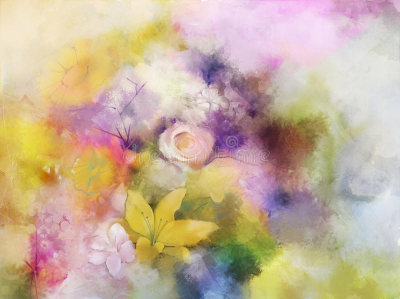 Uitstekende bloemen die achtergrond schilderen royalty-vrije illustratie