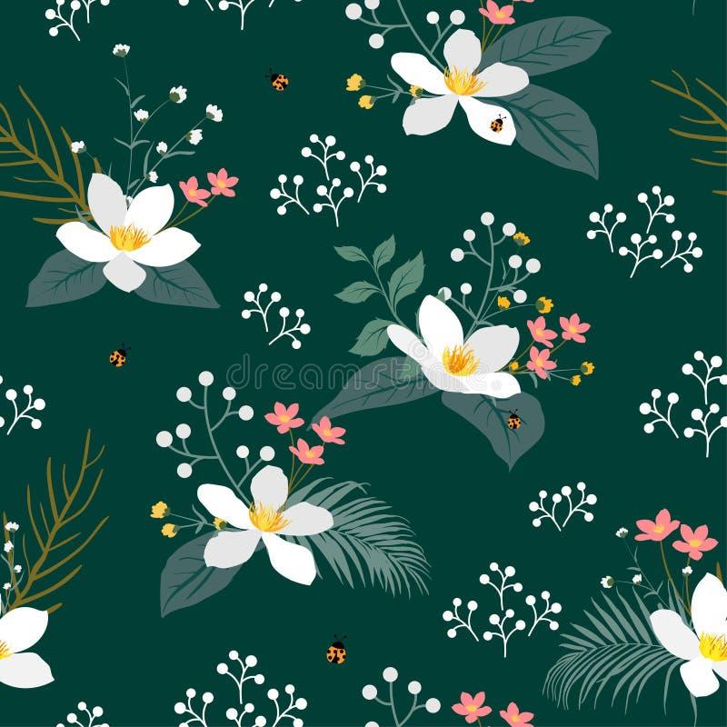 Uitstekende bloemen met tropisch bladeren naadloos patroon op donkergroene achtergrond voor manier, stof, kleding, decoratie, tex royalty-vrije illustratie