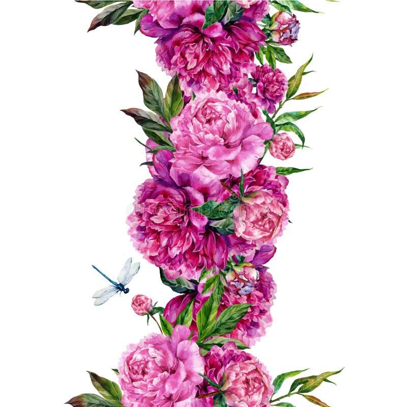 Uitstekende bloemen naadloze grens vector illustratie