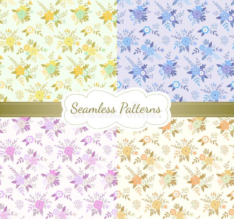 Uitstekende bloemen naadloze patroonreeks Vector illustratie stock illustratie