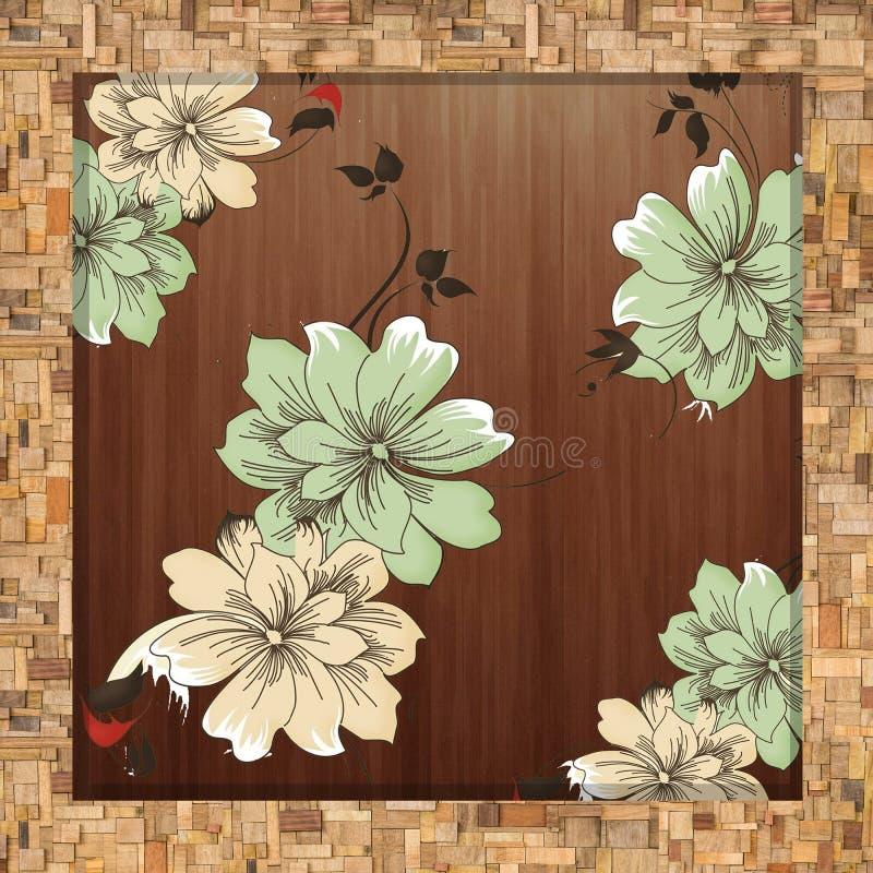 Uitstekende bloemenachtergrond met bloemen stock illustratie