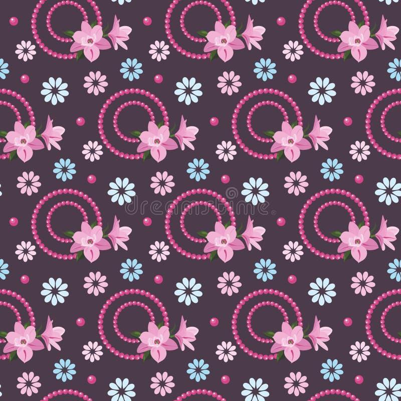 Uitstekende bloemenachtergrond met magnolia's stock illustratie