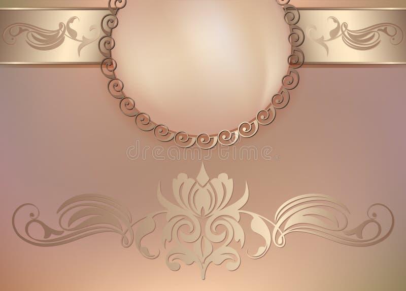 Uitstekende bloemenachtergrond met parels en ornament stock illustratie
